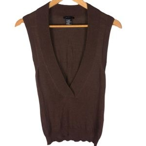 Theory Brown Sleeveless Sweater Deep V Size Small